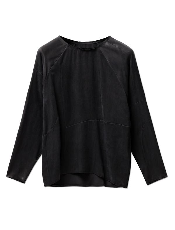 MM6 by Maison Margiela Womens Washed Satin Shirt - Black