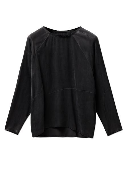 MM6 by Maison Margiela Womens Washed Satin Shirt Black