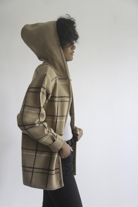 The Shudio Vintage Hooded Cream Plaid Sweater Coat