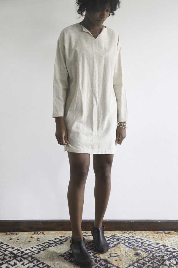 The Shudio Vintage Oatmeal Cotton Shift Dress