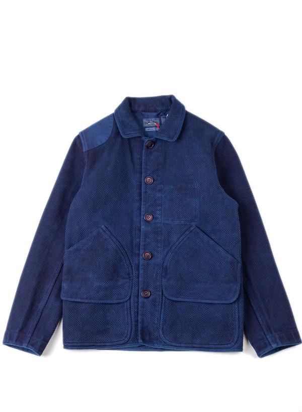 """Men's Blue Blue Japan Indigo Hand Dyed Big """"Sashiko"""" Hunting Jacket"""