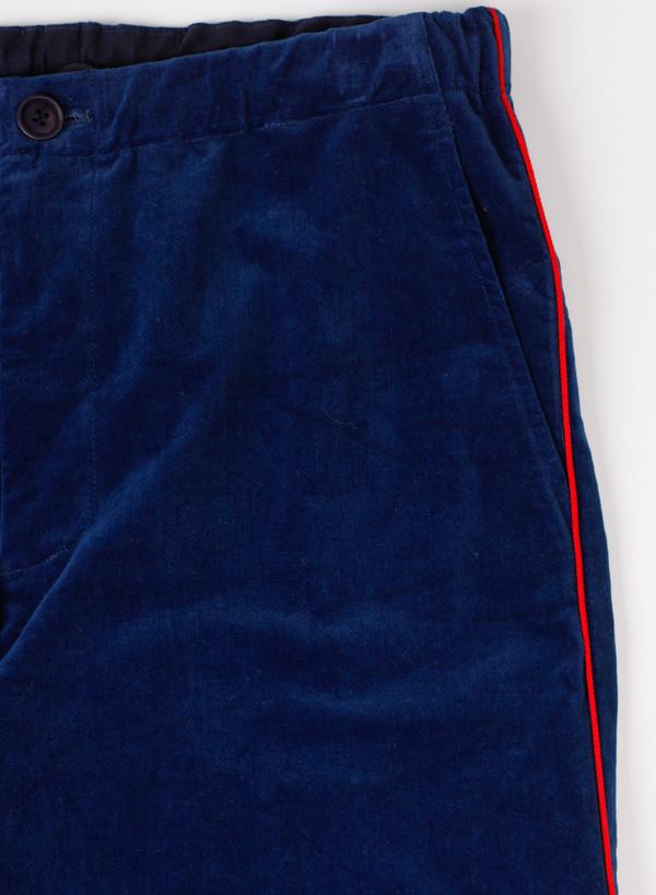 Men's Blue Blue Japan Woven Indigo Stretch Velour String Pants