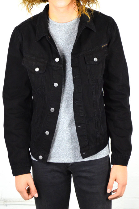 Nudie Billy Black Black Worn Denim Jacket