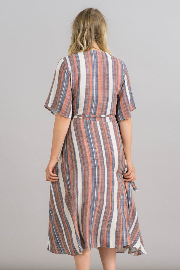 Just Female Stripe Wrap Dress