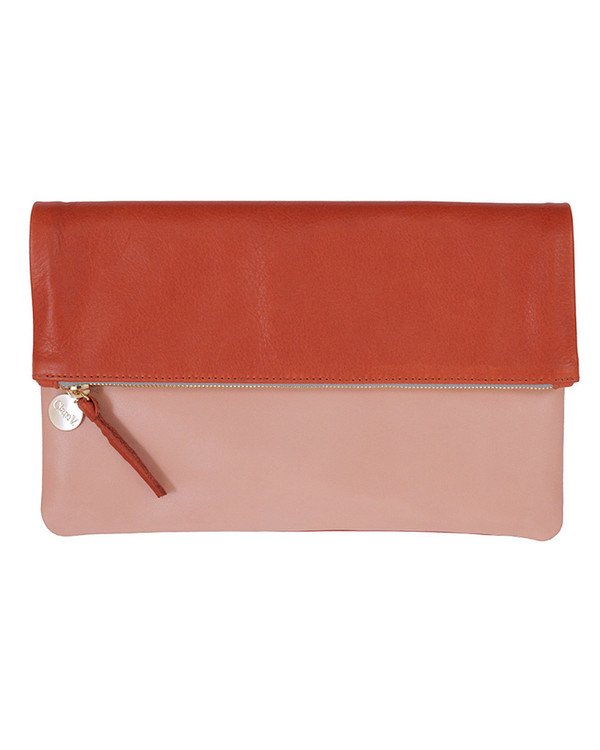 Clare V. Foldover Clutch in Sienna & Blush