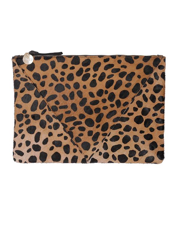 Clare V. Leopard Patchwork Flat Clutch
