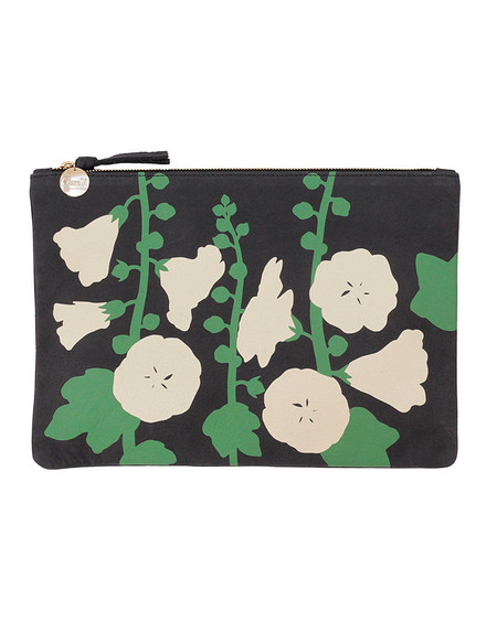 Clare V. Navy Leather Flat Clutch with Painted Floral Pattern