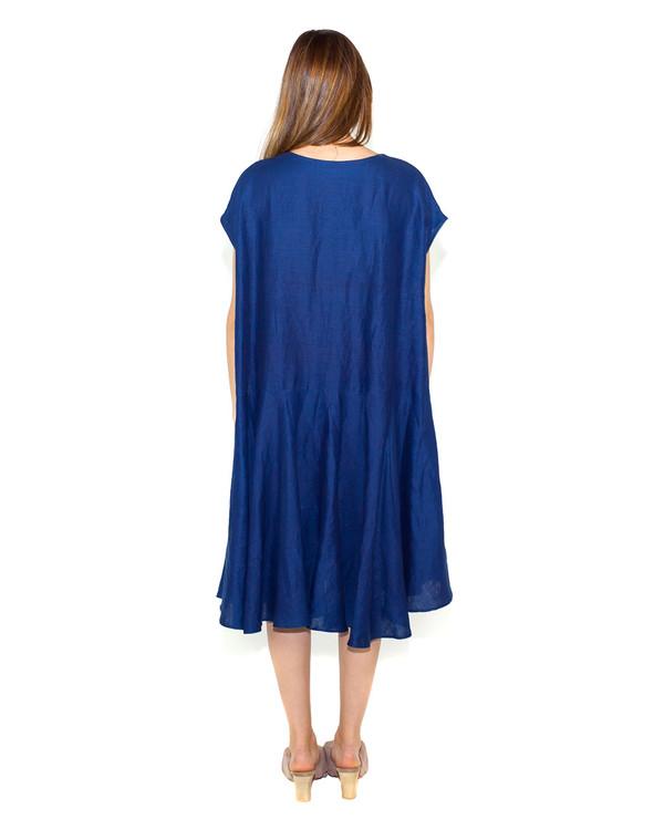 Creatures of Comfort Malick Dress in Indigo Linen