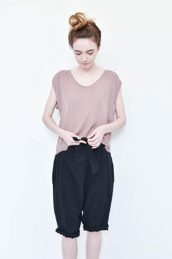 Evens Obi Shorts in Black Silk