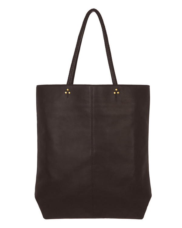 Jerome Dreyfuss Dario Tote in Black Lambskin with Brass Hardware
