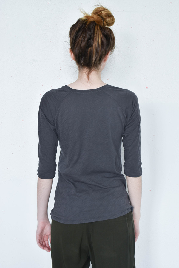 Pharaoh Slub Raglan Elbow Sleeve Tee in Graphite