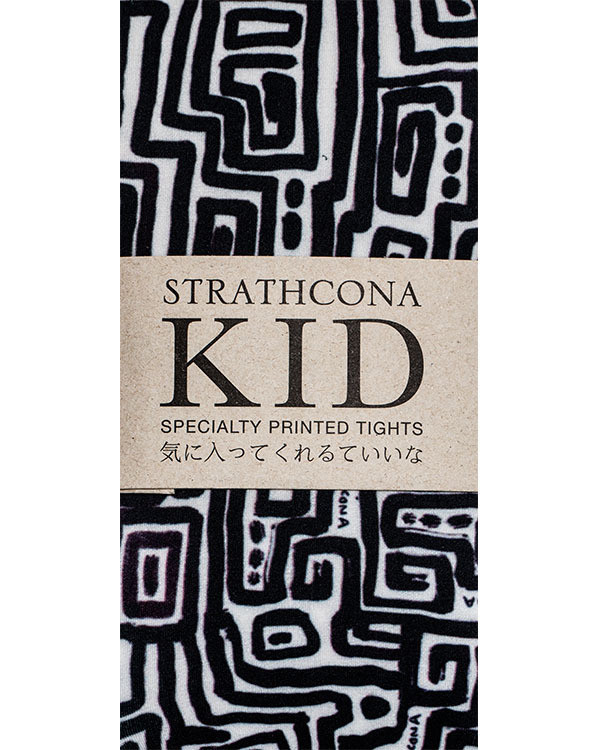 Strathcona Kids Black + White Maze Tights