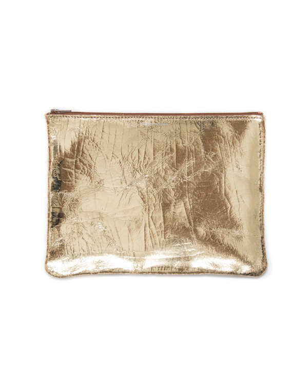 Tracey Tanner Large Flat Zip Pouch in Gold Foil