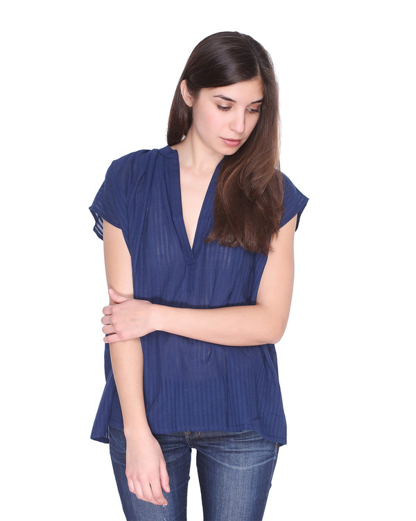 Two Caftans Blue Khadi Top