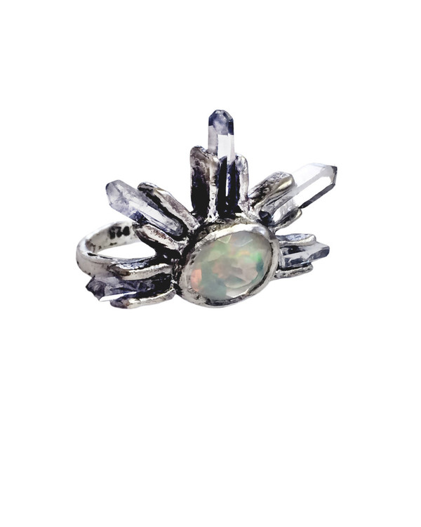Unearthen Large Eye Crown Ring with Opal and Quartz