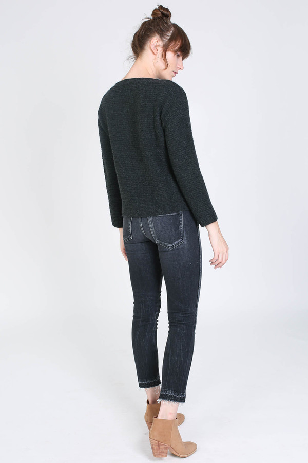 Evam Eva Camel wool stand pullover in Charcoal