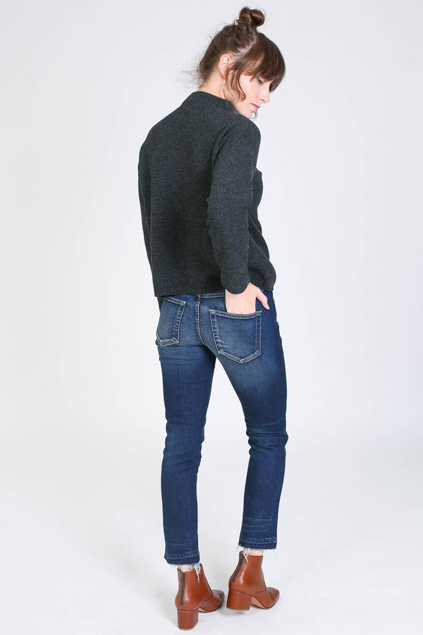 Evam Eva Wool Cashmere Stand Pullover in Charcoal