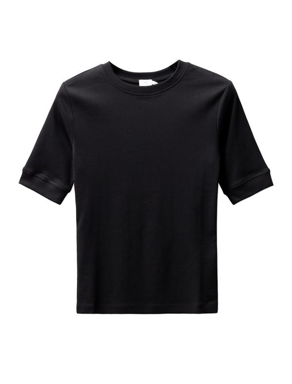 Sunspel Fine Rib T-Shirt - Black