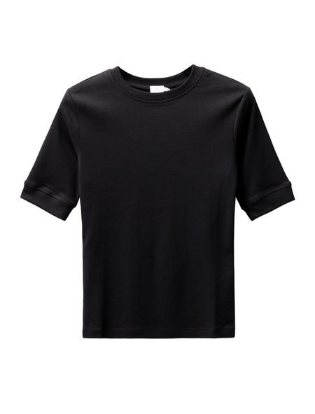 Sunspel Womens Fine Rib T-Shirt Black