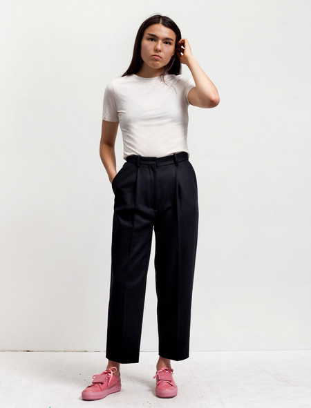 Acne Studios Womens Milli Wool Trousers Navy