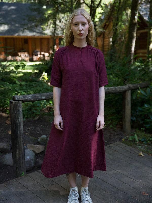 Sunja Link Gathered Oxblood Dress
