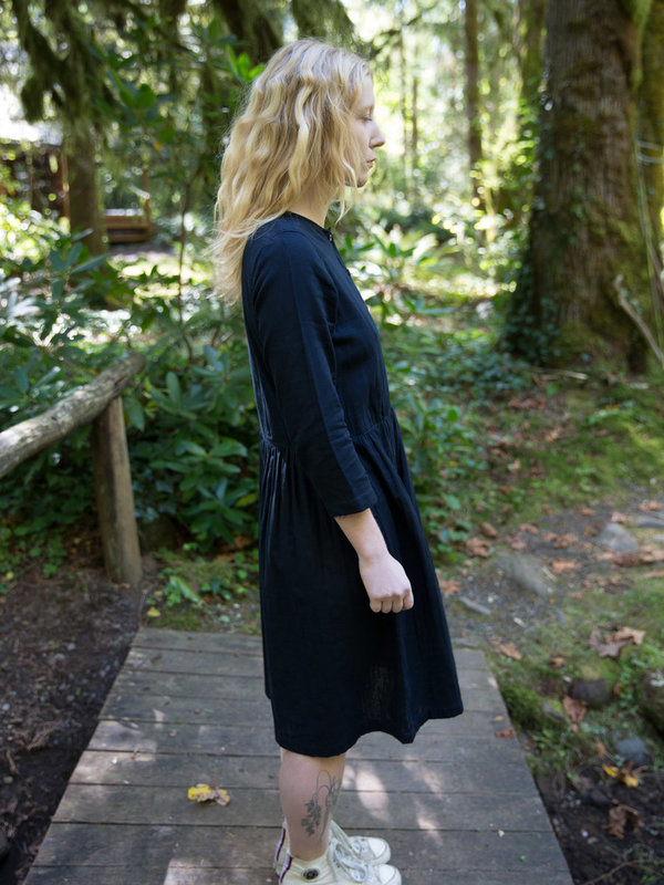 Wrk-Shp Navy Button Dress