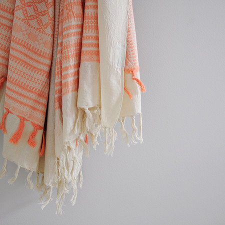 Bohemia CORAL EMBROIDERED SCARF
