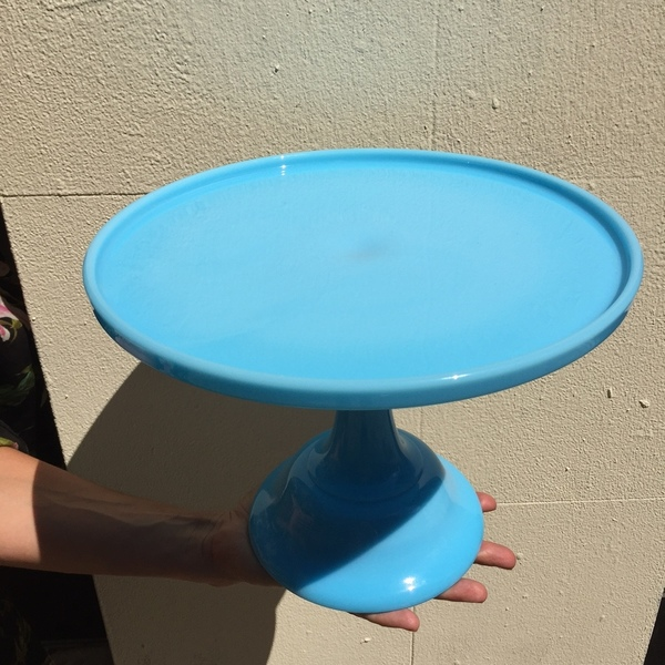 "BLUE MILK GLASS 10"" CAKE STAND"