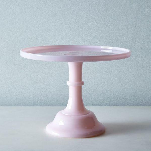 "MOSSER PINK CAKE STAND PINK MILK GLASS 10"" CAKE STAND"