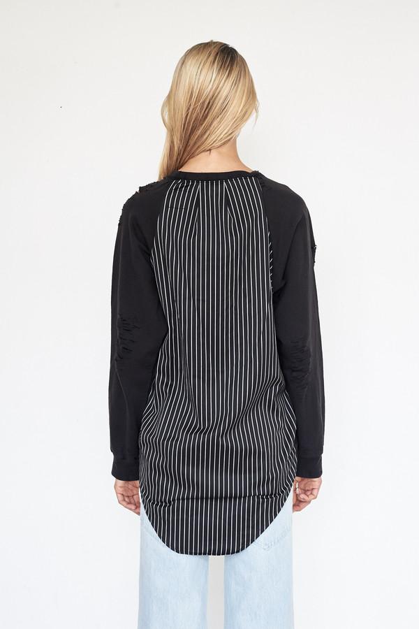 Lyz Olko Cotton L/S Crewneck - White Stripe