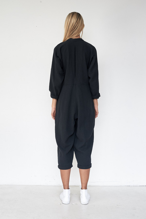 Black Crane Cotton Quilted Jumpsuit