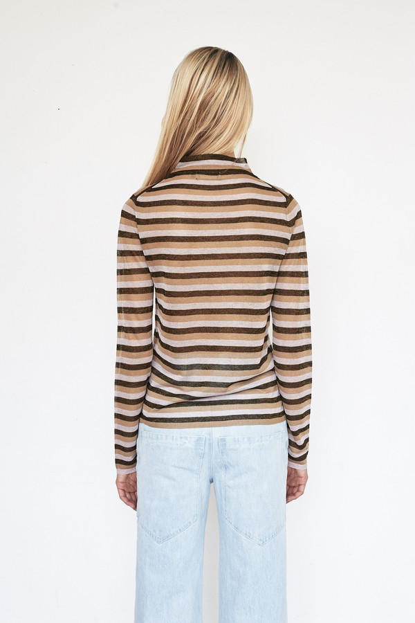 Pari Desai Metallic Raz Stripe Sweater