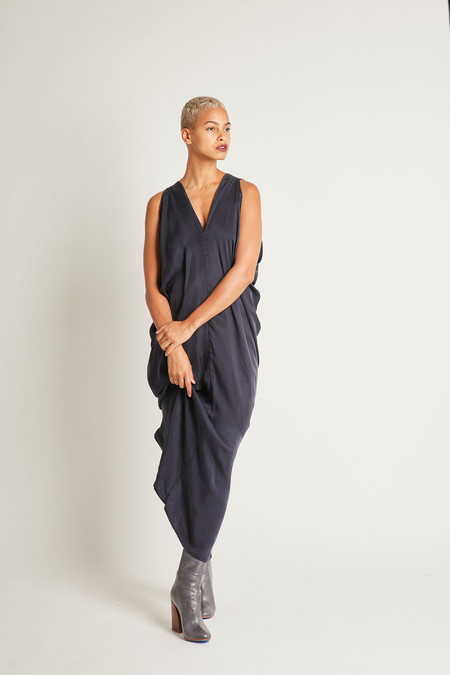 H. Fredriksson Long Stina Dress in Navy Cupro