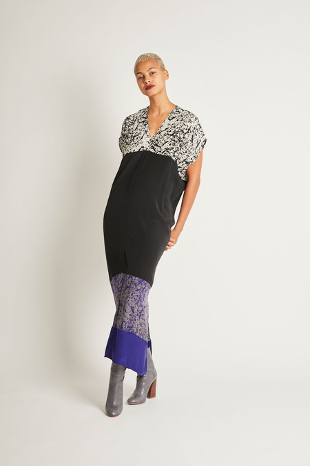H. Fredriksson Mara Long Dress in Black Purpur Pollock