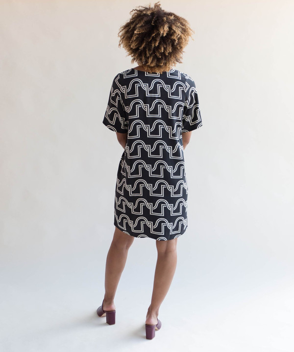 Dusen Dusen Black Duo Weave Short Yes Dress