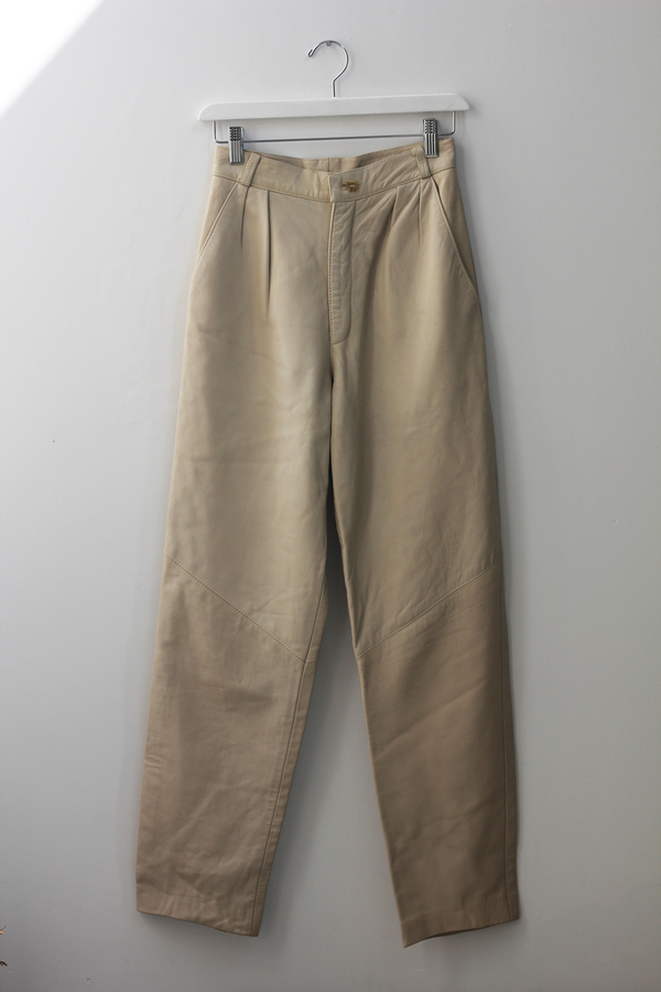 Hey Jude Vintage Cream Leather Trousers