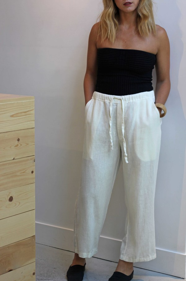 Hey Jude Vintage Ivory Linen Trouser