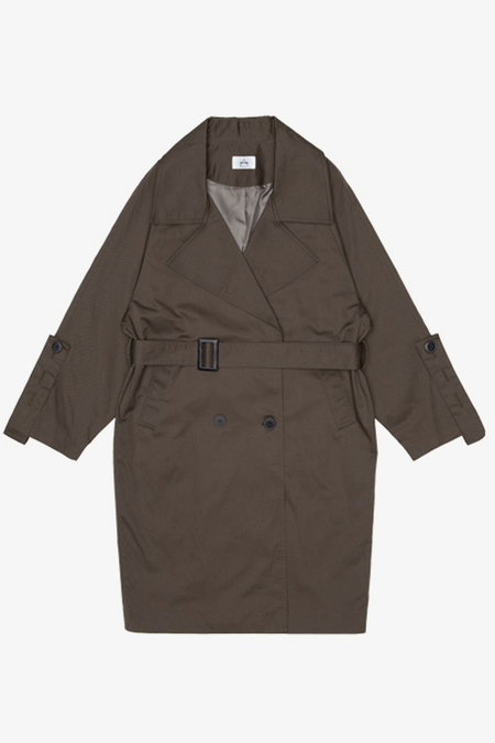 AMONG SEOUL Oversized Trench Coat- Khaki