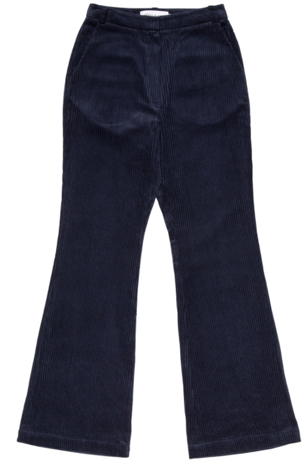 ROCKET LUNCH Corduroy Flared Pants- Black