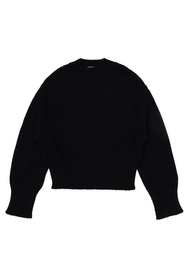 ROCKET LUNCH Twist Cropped Knit- Black