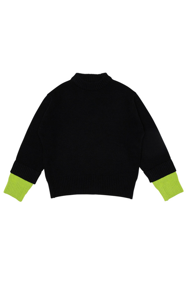 ROCKET LUNCH Double Sleeve Knit- Black