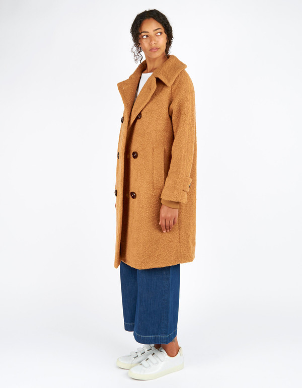 Ganni Fenn Double Breasted Coat Tobacco Brown