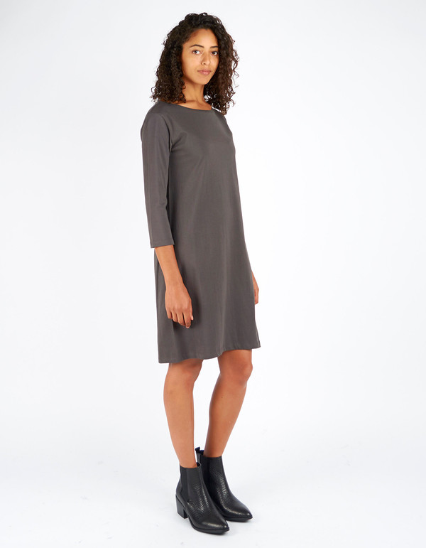 Kowtow Building Block Boat Neck Dress Charcoal