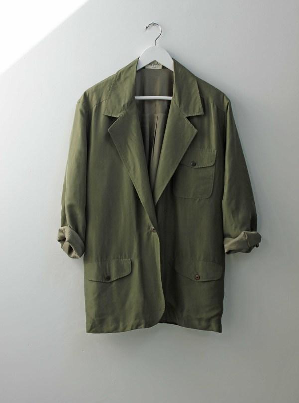 Hey Jude Vintage Olive Silk Blazer