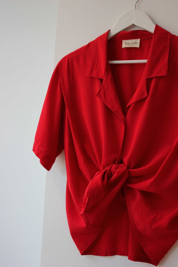 Hey Jude Vintage Crimson Silk Blouse