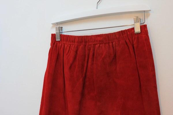 Hey Jude Vintage Crimson Suede Skirt