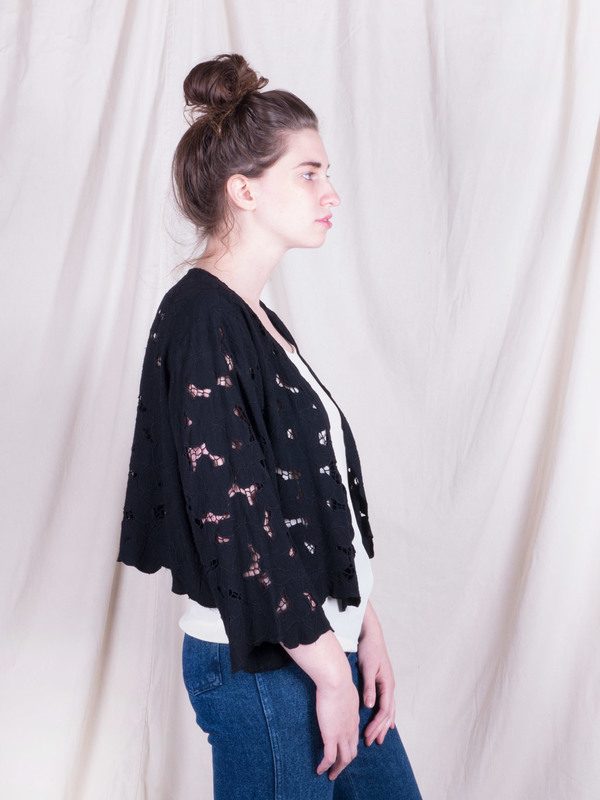 Woods Vintage Black Lace Cardigan