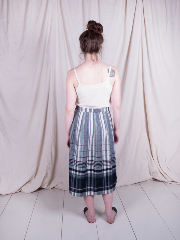 Woods Vintage Plaid Wool Skirt