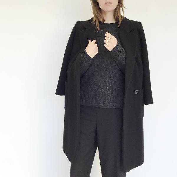 Johan Vintage Black Wool Everyday Coat