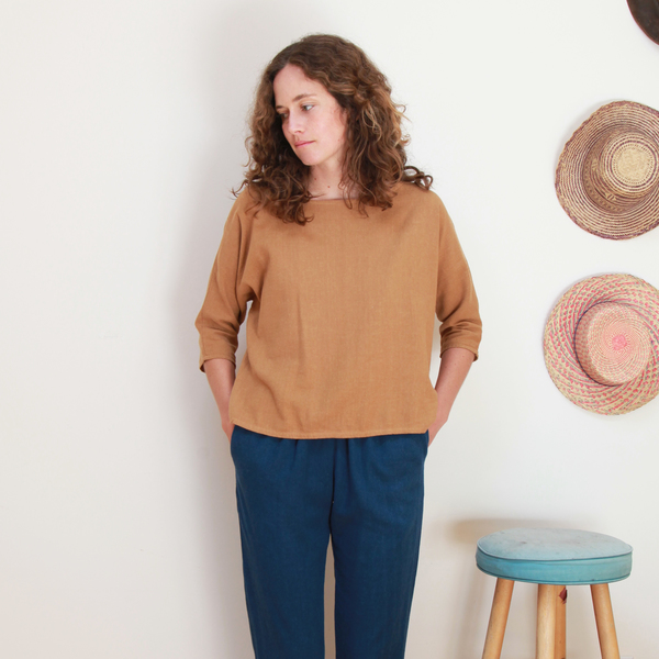 Me & Arrow Dolman 3/4 Sleeve Top Apple Cinnamon